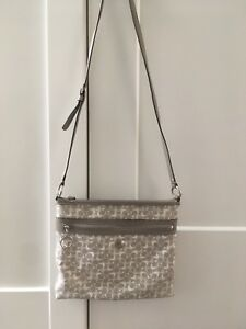 f1f2b6bf97d0 Beautiful Coach Grey and White Leather Monogram Crossbody Bag