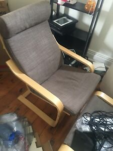 Ikea Arm Chair with matching Ottoman- with grey seat cover