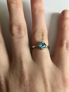 Blue Topaz Ring with Small Diamonds