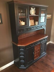 Rustic Dining Table, Chairs, & Hutch