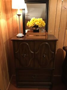 3 Piece Bedroom set: Long dresser, armoir and night stand