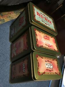 1990's red rose, Lipton, OXO tins