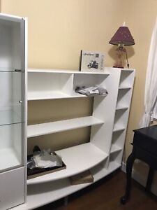 White display cabinet with TV shelf