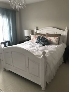 Gorgeous white washed solid Pine Full Bed.