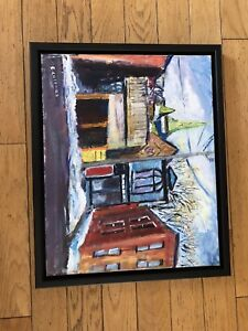 ed coleman oil painting of duke st.framed; 325.00