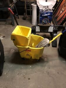 Commercial bucket, squeegee, and mop