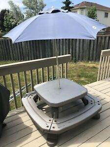 Little Tikes kids picnic bench with umbrella
