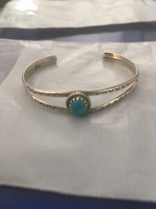 Authentic Vintage Navajo SILVER and TURQUOISE baby bracelet.