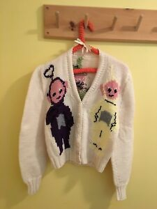 Awesome vintage hand knitted Teletubbies sweater