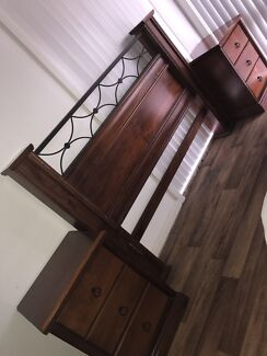 Queen Size Timber bed frame & sides/mirror draw