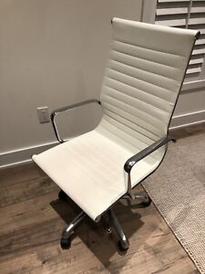 White leather desk/task chair with chrome arms