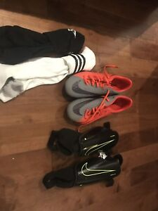 Soccer shoes, shin guards, socks