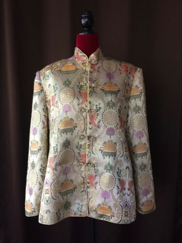 PBL Asian JACKET With FLORAL & FISH Pattern Satin Lounge Coat Women