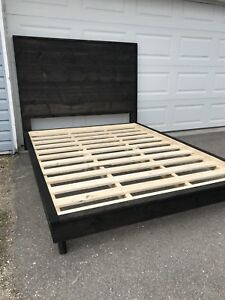 Dark Stained Wooden Bed Frame-Queen