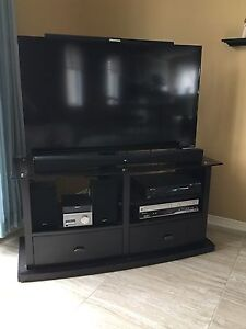 Espresso colour tv / media stand with TV mount.