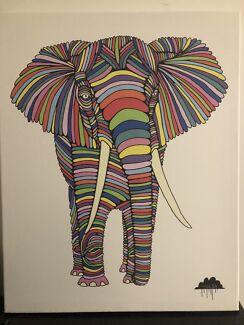 Colourful Elephant Art on Canvas - By Artist Mulga