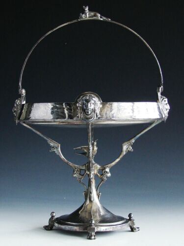 Antique Victorian Eastlake Silver Plate Brides Basket Cake Stand Reed Barton
