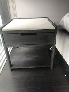 CB2 nightstand and IKEA lamp