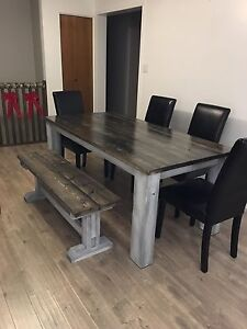 Rustic style hand crafted kitchen table.