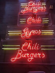 Burger restaurant neon signs