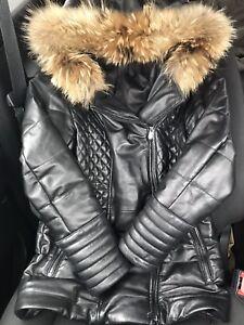 Women's leather winter jacket with fur - Danier