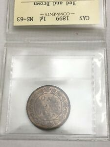 1899 Canadian Large Penny Coin - ICCS GRADE MS63