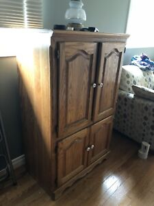 Solid oak entertainment cabinet