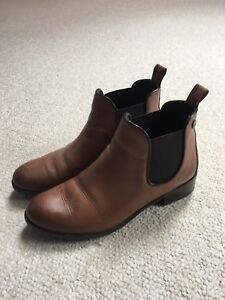 Barely worn brown leather ankle boots