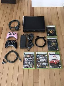 Xbox 360, 120GB, 2 controllers plus 5 games