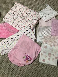 Baby girl receiving blankets