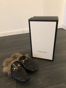 Gucci fur loafers size 7 men's