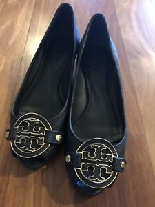 Tory Burch black peep toe wedge size 6M