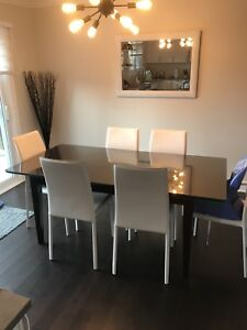 Dining table with glass top included