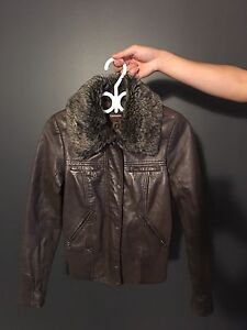 Danier Lamb Leather Jacket with detachable fur collar