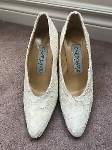 Cape David Italy white cream lace heels shoes 36.5