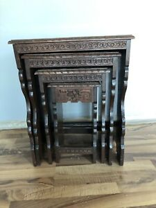 Hand carved Nesting Tables