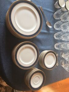 "Royal Doulton ""Stanwyck"" Place Settings (12), w/crystal, etc"