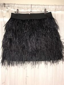 Black Feathered Mini Skirt | Seed Heritage | Size 10