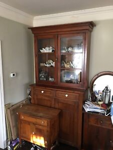 8foot tall solid wood hutch, very heavy
