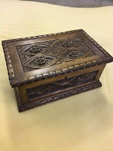 Wooden chest hand carved