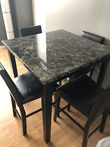 Bar-Height Dinner Table Set w/ leather chairs ***LIKE NEW***