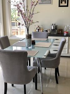 Glass Table with 4 grey chairs in EUC