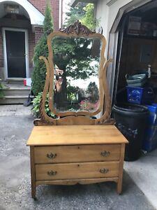 Maple dresser and mirror