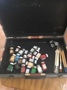 Assortment of Model car paints and brushes w/box