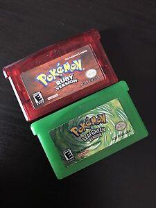 Pokemon ruby and leaf green gba