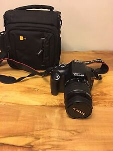 Canon Rebel T3 with EFS 18-55mm f/3.5-5.6 IS with camera case