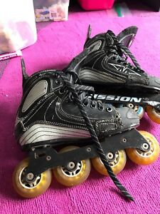 Boys hockey roller blades (4) and equipment