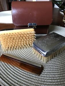 Vintage leather men's grooming set- never used