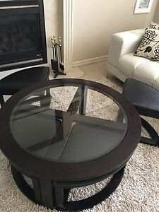 Dark coffee brown table with removable chairs