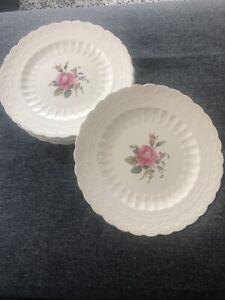 Spode Billingsley Rose dinner plates - pink stamp